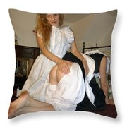 Open Back Bloomers On A Naughty Maid Throw Pillow