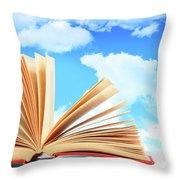Open Book Against A Blue Sky Throw Pillow