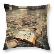 Open Book And Roasary On The Floor Throw Pillow