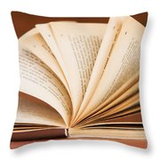 Open Book In Retro Style Throw Pillow