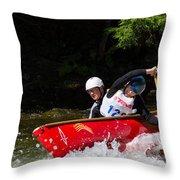 Open Canoe Whitewater Race - Panorama Throw Pillow