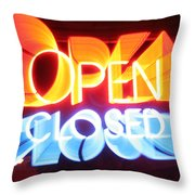 Open Closed Throw Pillow