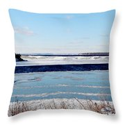 Open Creek - Ice Fishing - Winter Throw Pillow