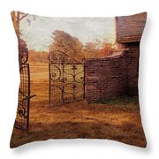Open Gate By Cottage Throw Pillow