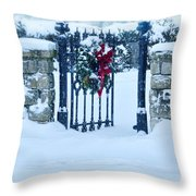 Open Gate In Snow With Wreath Throw Pillow