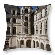 Open Staircase Chateau Chambord - France Throw Pillow