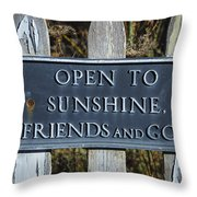 Open To Sunshine Sign Throw Pillow
