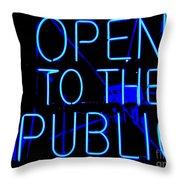 Open To The Public Throw Pillow