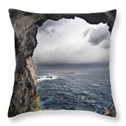 A Natural Window In Minorca North Coast Discover Us An Impressive View Of Sea And Sky - Open Window Throw Pillow