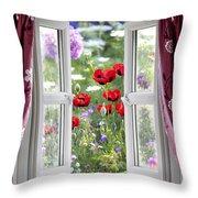 Open Window View Onto Wild Flower Garden Throw Pillow