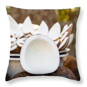 Opened Coconuts On The Market Throw Pillow