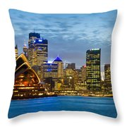Opera House And Buildings Lit Throw Pillow