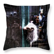 Opossum In The City Throw Pillow