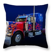 Optimus Prime Blue Throw Pillow
