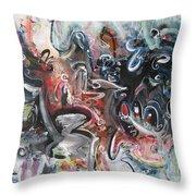 Orang Elblue Black Grey Abstract Landscape Art Throw Pillow