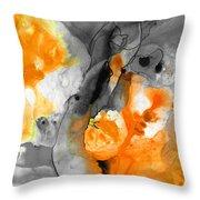 Orange Abstract Art - Iced Tangerine - By Sharon Cummings Throw Pillow