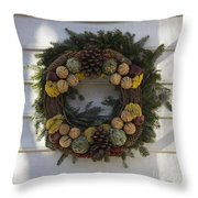 Orange And Artichoke Wreath Throw Pillow