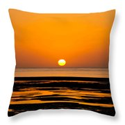 Orange And Black Sunset Abstract Throw Pillow