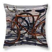 Orange And Blue Bikes Throw Pillow