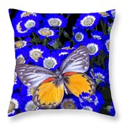 Orange And Gray Butterfly Throw Pillow
