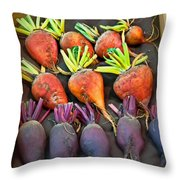 Orange And Purple Beet Vegetables In Wood Box Art Prints Throw Pillow