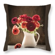 Orange And Red Ranunculus Flowers Throw Pillow