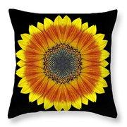Orange And Yellow Sunflower Flower Mandala Throw Pillow