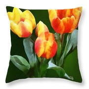 Orange And Yellow Tulips Throw Pillow