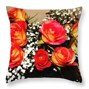 Orange Apricot Roses With Oil Painting Effect Throw Pillow