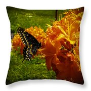 Orange Azalea Throw Pillow