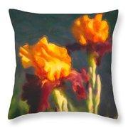 Orange Bearded Irises Throw Pillow