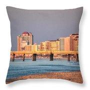 Orange Buildings On The Beach Throw Pillow