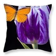 Orange Butterfly On Purple Tulip Throw Pillow