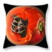 Orange Cactus Flower In A Globe Throw Pillow
