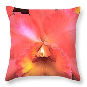 Orange Cattleya Orchid Throw Pillow