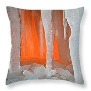 Orange Cave Throw Pillow