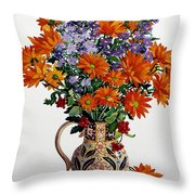 Orange Chrysanthemums Throw Pillow