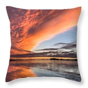 Orange Clouds Over Humboldt Bay Throw Pillow