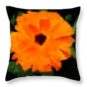 Orange Country Flowers - Impressionist Series Throw Pillow