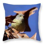 Orange-crowned Warbler - Feather Lite Throw Pillow