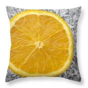 Orange Cut In Half Grey Background Throw Pillow