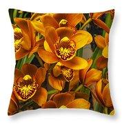 Orange Cymbidium Throw Pillow
