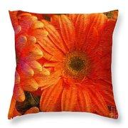 Orange Daisies Painterly With Border Throw Pillow