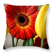 Orange Daisy With Tulips Throw Pillow