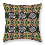 Orange Day Lily Design Throw Pillow