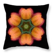Orange Daylily Flower Mandala Throw Pillow by David J Bookbinder