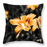 Orange Daylily Flowers On Gray 1 Throw Pillow