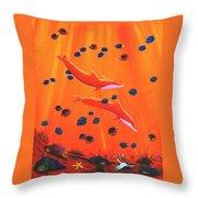 Orange Dolphins Throw Pillow