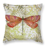 Orange Dragonfly On Vintage Tin Throw Pillow