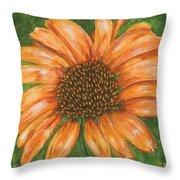 Orange Echinacea Throw Pillow